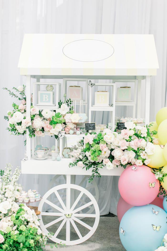 Butterfly & Bloom Dessert Cart from a Luxury Baby Shower on Kara's Party Ideas   KarasPartyIdeas.com (46)