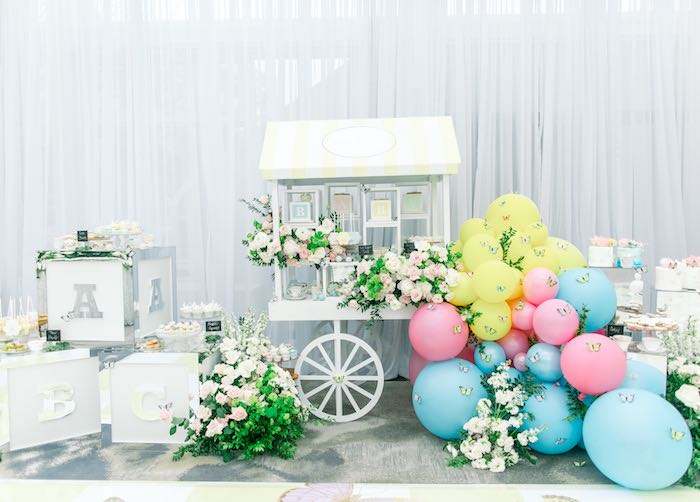 Dessert Cart from a Luxury Baby Shower on Kara's Party Ideas | KarasPartyIdeas.com (43)