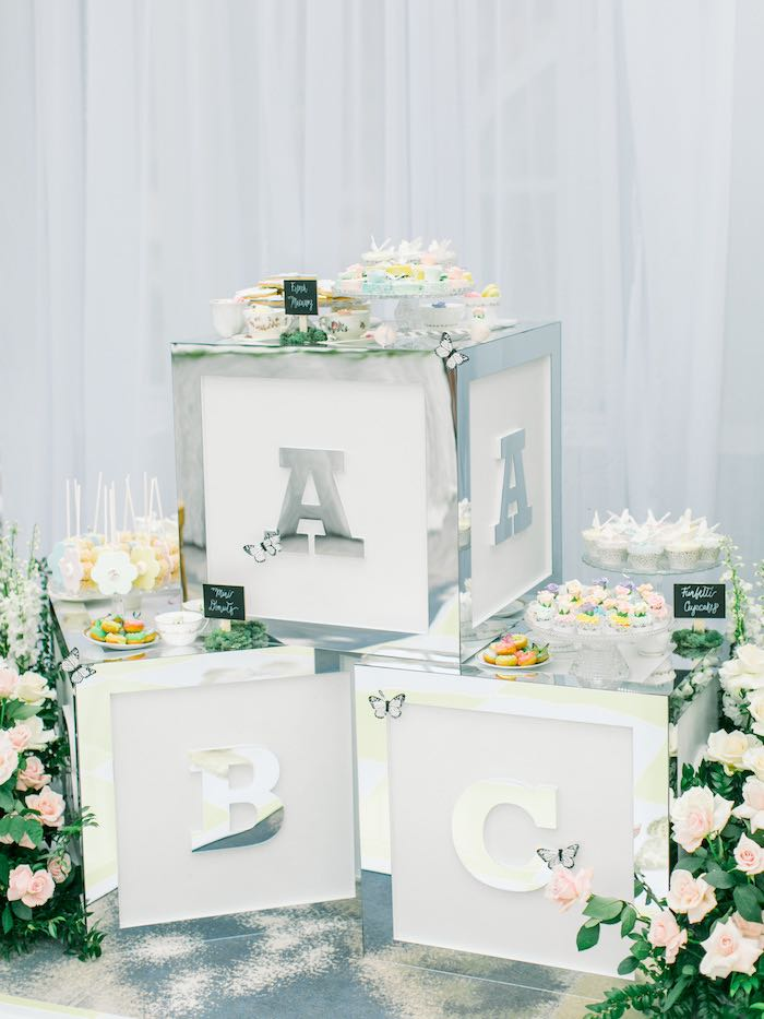 Baby Blocks Dessert Pedestal Table from a Luxury Baby Shower on Kara's Party Ideas | KarasPartyIdeas.com (42)