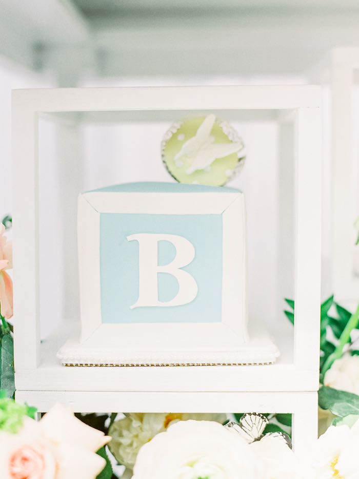 Baby Block Letter Cake from a Luxury Baby Shower on Kara's Party Ideas | KarasPartyIdeas.com (39)