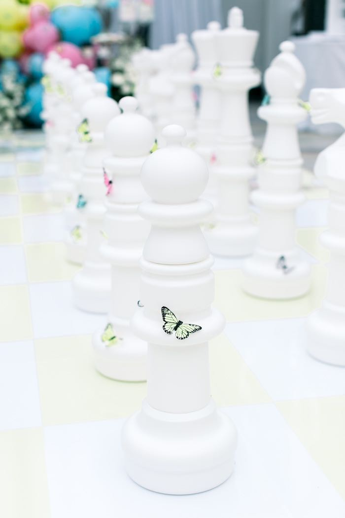 Life-sized Chess Board from a Luxury Baby Shower on Kara's Party Ideas | KarasPartyIdeas.com (37)