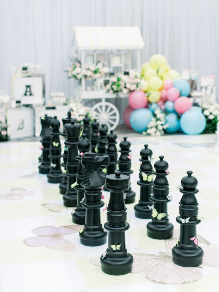 Life-sized Chess Board from a Luxury Baby Shower on Kara's Party Ideas | KarasPartyIdeas.com (36)