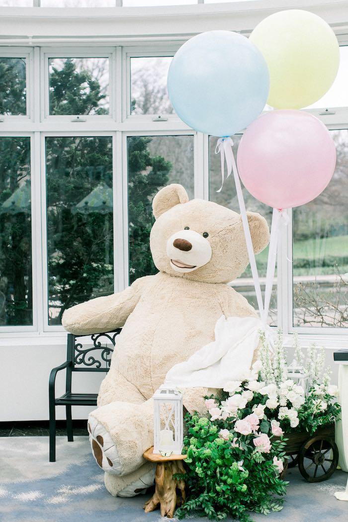 Giant Teddy Bear from a Luxury Baby Shower on Kara's Party Ideas | KarasPartyIdeas.com (34)
