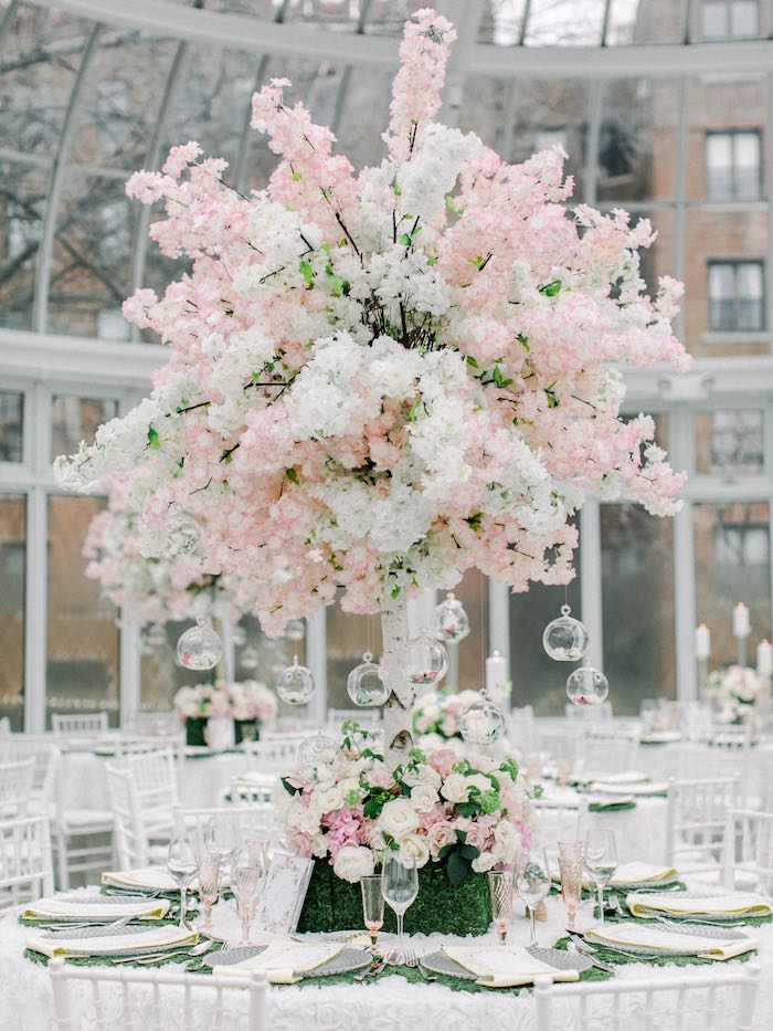 Spring Blossom Guest Table from a Luxury Baby Shower on Kara's Party Ideas | KarasPartyIdeas.com (69)