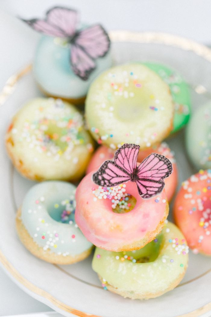 Butterfly Doughnuts from a Luxury Baby Shower on Kara's Party Ideas   KarasPartyIdeas.com (17)