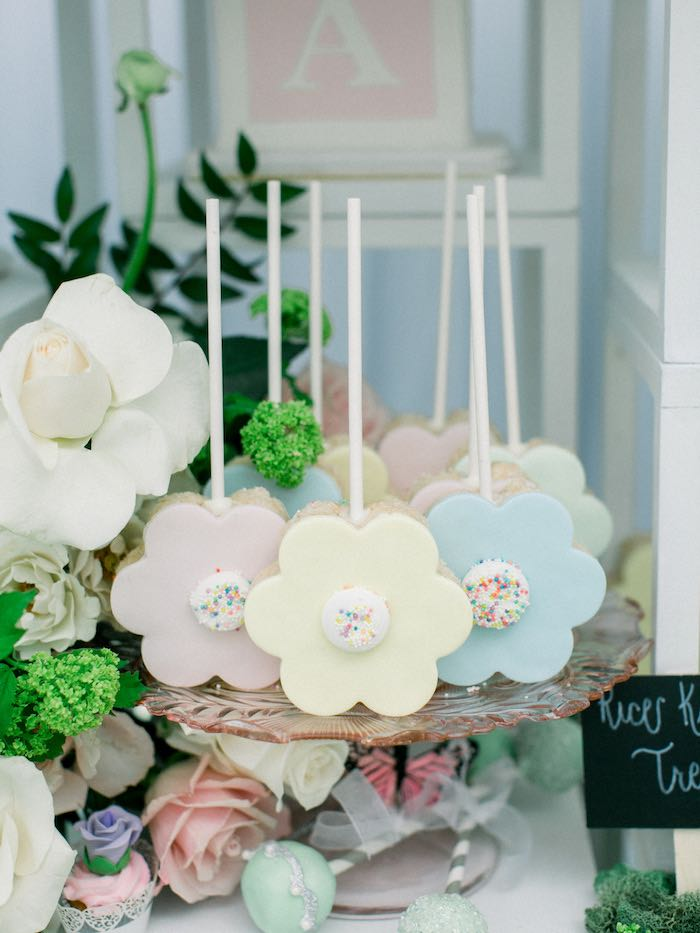 Flower Rice Krispie Treats from a Luxury Baby Shower on Kara's Party Ideas | KarasPartyIdeas.com (16)