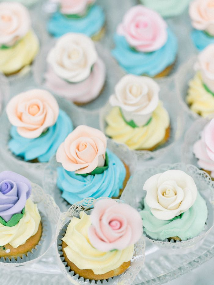 Flower Cupcakes from a Luxury Baby Shower on Kara's Party Ideas | KarasPartyIdeas.com (11)