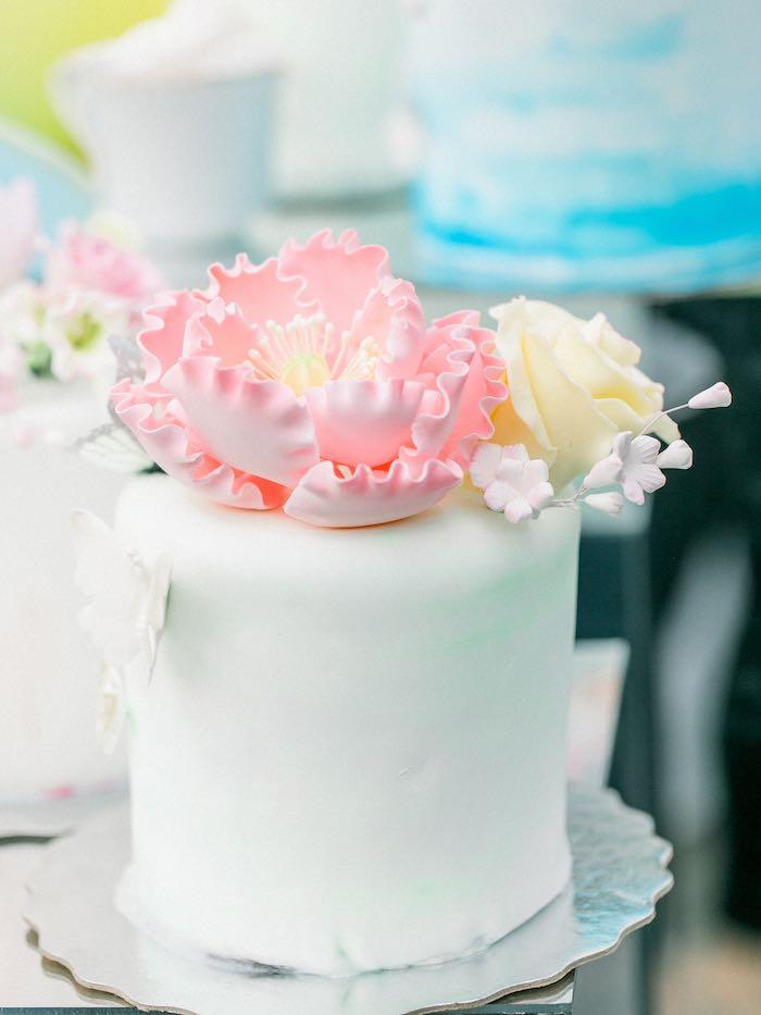 Sugar Flower Cake from a Luxury Baby Shower on Kara's Party Ideas   KarasPartyIdeas.com (10)