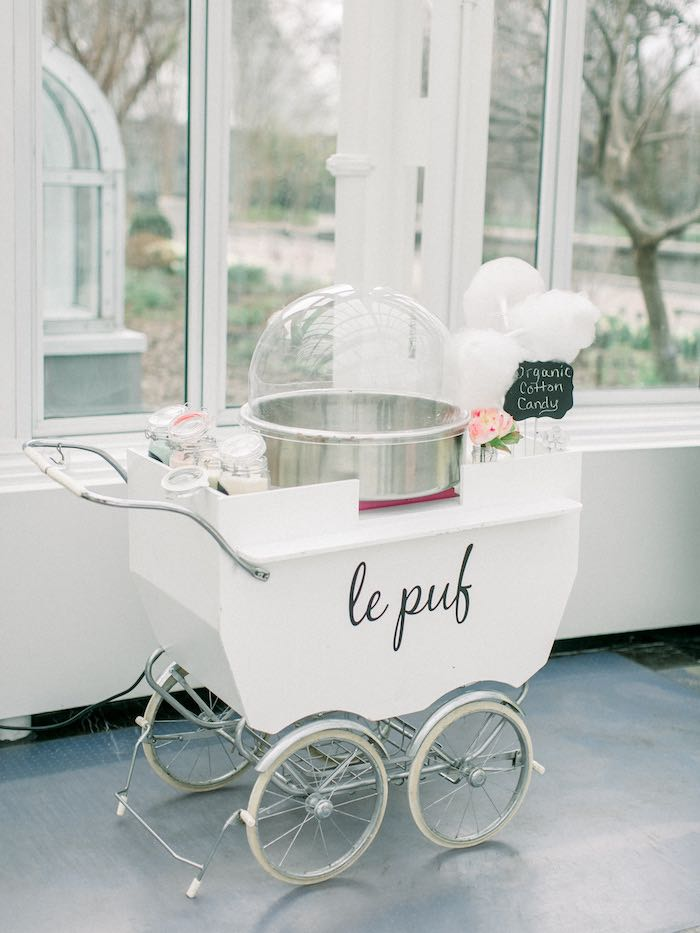 Baby Carriage Cotton Candy Cart from a Luxury Baby Shower on Kara's Party Ideas   KarasPartyIdeas.com (8)