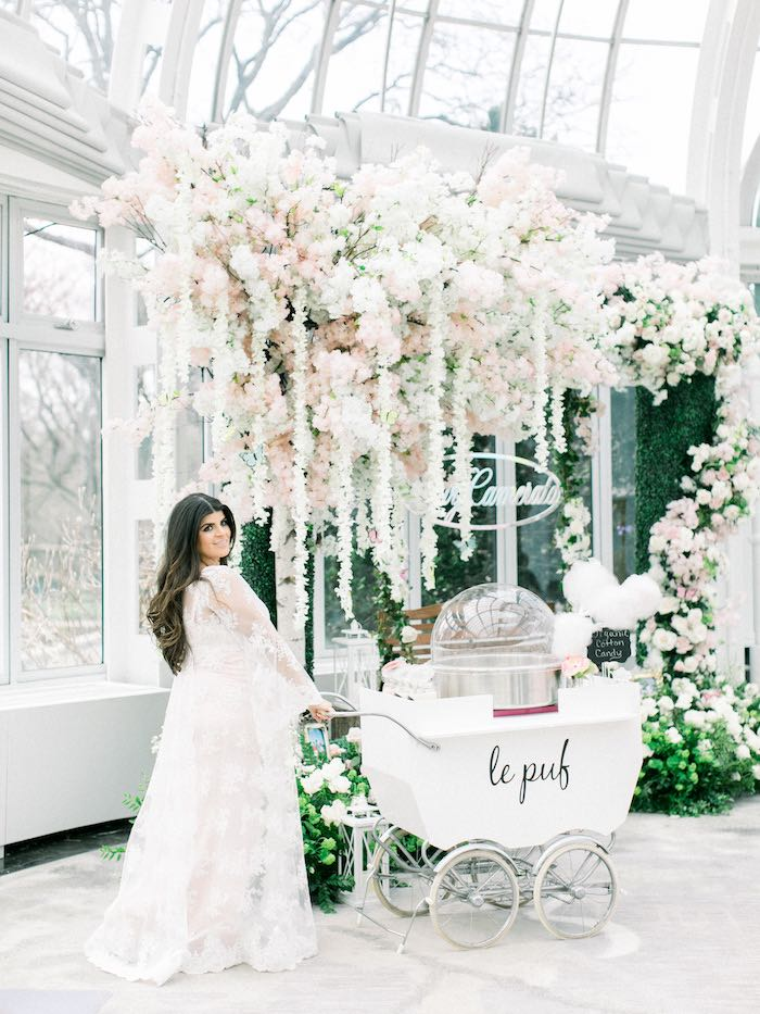 Baby Carriage Cotton Candy Cart from a Luxury Baby Shower on Kara's Party Ideas | KarasPartyIdeas.com (6)