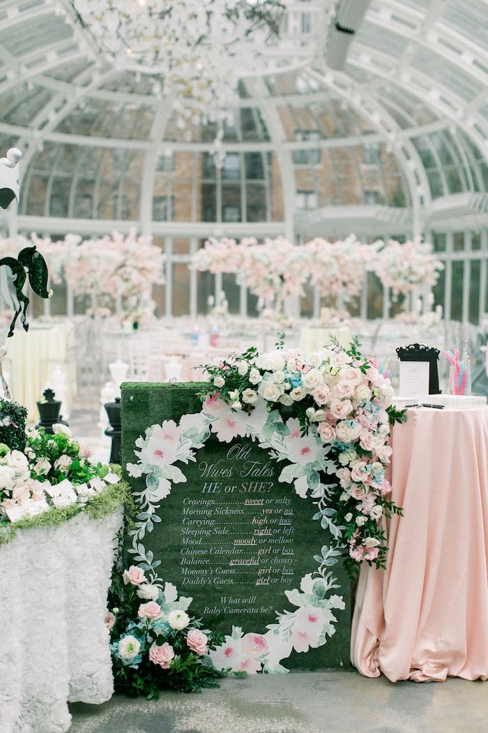 Floral Highligt Board from a Luxury Baby Shower on Kara's Party Ideas | KarasPartyIdeas.com (63)
