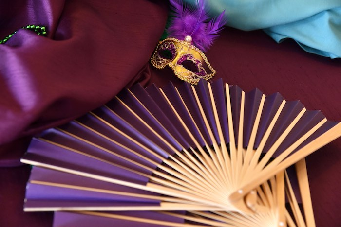 Paper Fan from a Mardi Gras 70th Birthday Party on Kara's Party Ideas | KarasPartyIdeas.com (6)