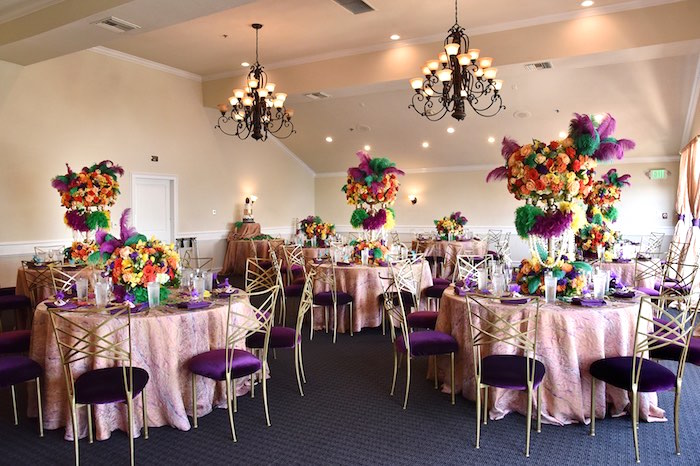 Mardi Gras Guest Tables + Partyscape from a Mardi Gras 70th Birthday Party on Kara's Party Ideas | KarasPartyIdeas.com (15)
