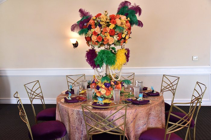 Mardi Gras Guest Table from a Mardi Gras 70th Birthday Party on Kara's Party Ideas | KarasPartyIdeas.com (14)