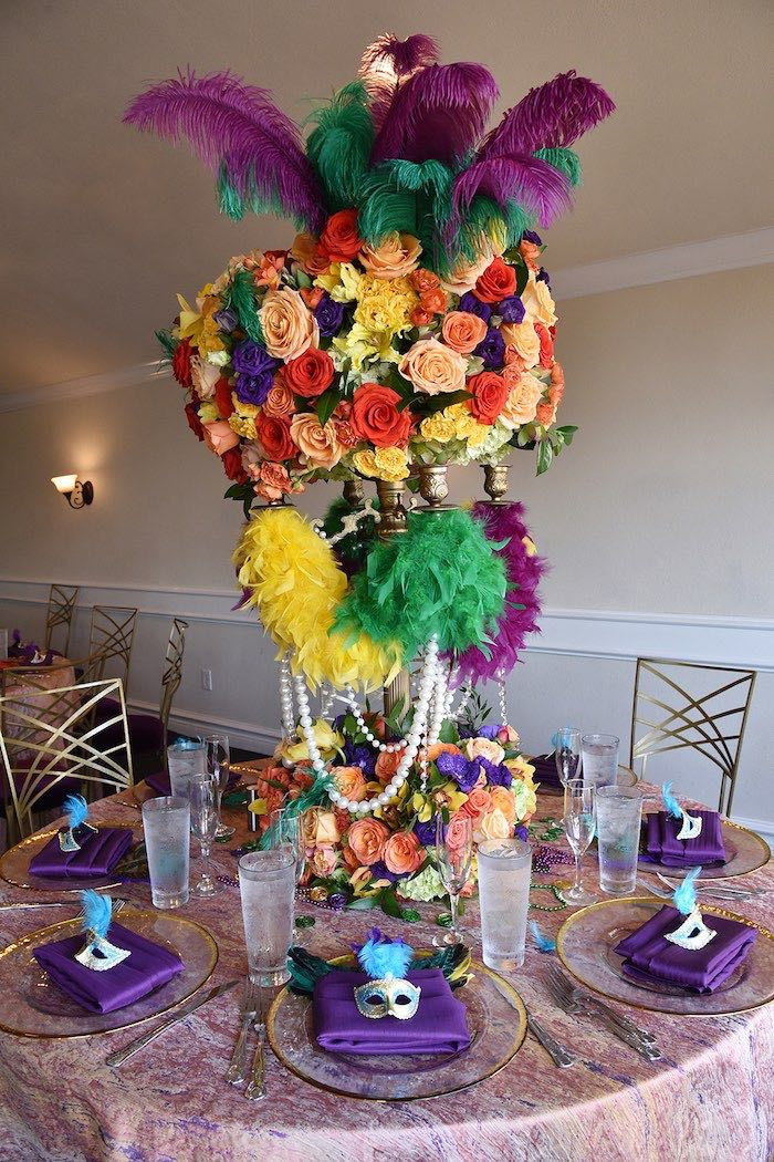 Mardi Gras Guest Table from a Mardi Gras 70th Birthday Party on Kara's Party Ideas | KarasPartyIdeas.com (13)
