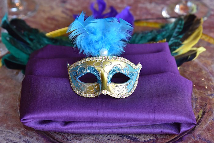 Gold Masquerade Mask from a Mardi Gras 70th Birthday Party on Kara's Party Ideas | KarasPartyIdeas.com (12)