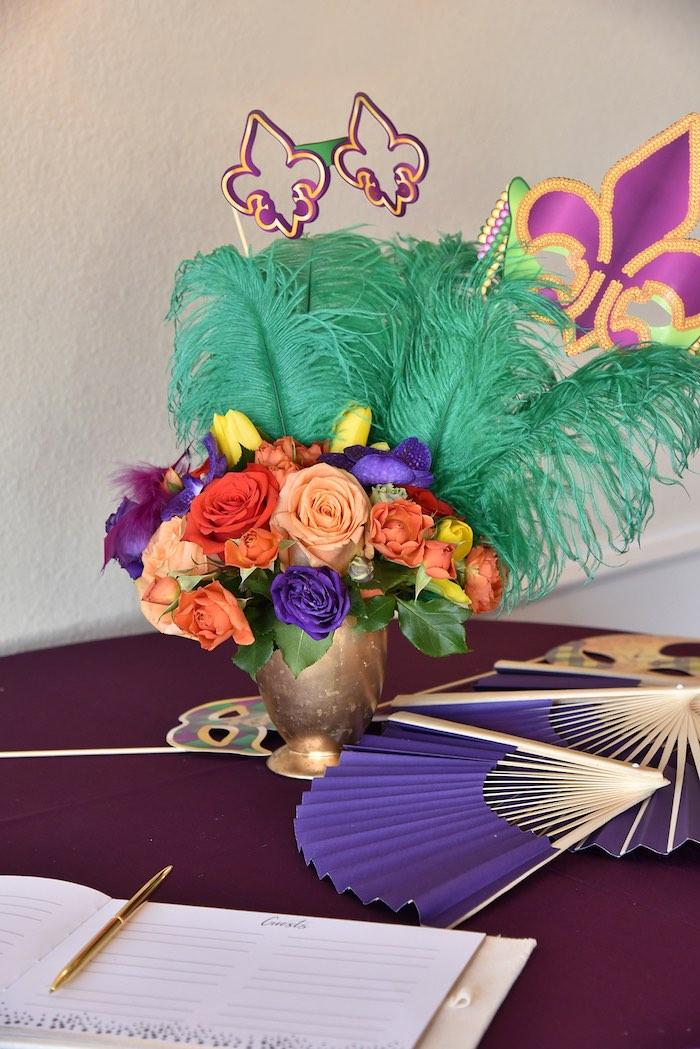 Floral Mardi Gras Table Centerpiece from a Mardi Gras 70th Birthday Party on Kara's Party Ideas | KarasPartyIdeas.com (10)