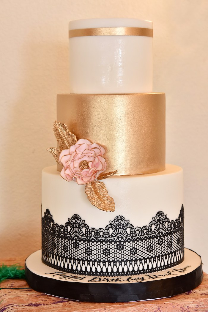 Gold Glam Lace Cake from a Mardi Gras 70th Birthday Party on Kara's Party Ideas | KarasPartyIdeas.com (9)