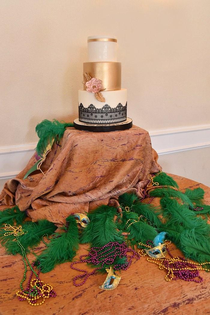 Mardi Gras Cake Table from a Mardi Gras 70th Birthday Party on Kara's Party Ideas | KarasPartyIdeas.com (8)
