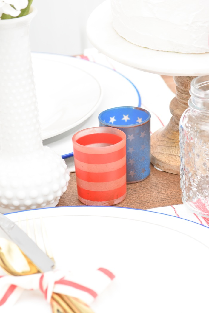4th of July Votife Candle Holders Backyard Party with Gladiator Upright Freezer and All Refrigerator- Memorial Day, Labor Day by Kara's Party Ideas