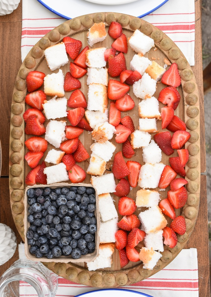 4th of July Fruit Flag Tray Backyard Party with Gladiator Upright Freezer and All Refrigerator- Memorial Day, Labor Day by Kara's Party Ideas
