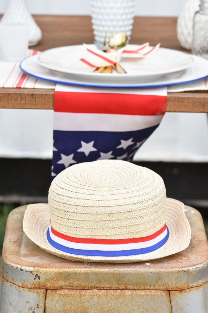 4th of July Party Hat Backyard Party with Gladiator Upright Freezer and All Refrigerator- Memorial Day, Labor Day by Kara's Party Ideas