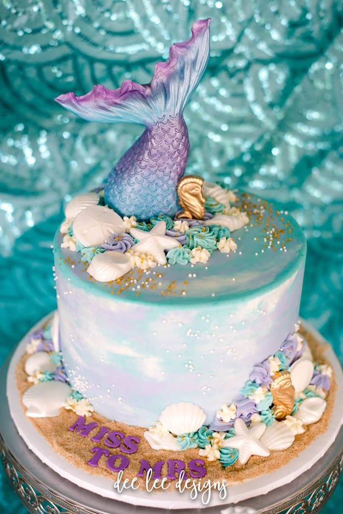 Mermaid Tail Cake from a Mermaid + Under the Sea Bridal Shower on Kara's Party Ideas | KarasPartyIdeas.com (16)