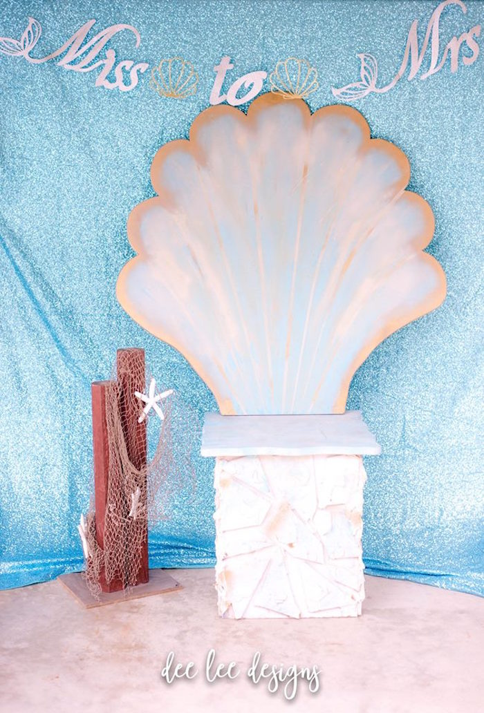 Seashell Throne from a Mermaid + Under the Sea Bridal Shower on Kara's Party Ideas | KarasPartyIdeas.com (14)