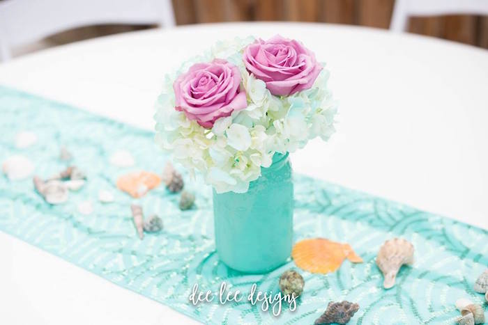 Mason Jar Blooms + Table Centerpiece from a Mermaid + Under the Sea Bridal Shower on Kara's Party Ideas | KarasPartyIdeas.com (10)