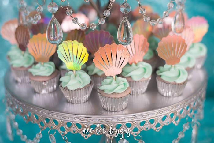 Seashell Cupcakes from a Mermaid + Under the Sea Bridal Shower on Kara's Party Ideas | KarasPartyIdeas.com (8)