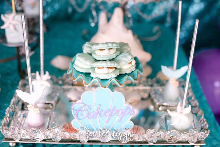 Under the Sea Cakepops + Seashell Macarons from a Mermaid + Under the Sea Bridal Shower on Kara's Party Ideas | KarasPartyIdeas.com (26)