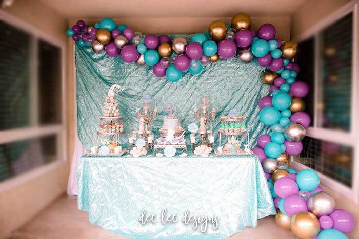 Mermaid Themed Dessert Table from a Mermaid + Under the Sea Bridal Shower on Kara's Party Ideas | KarasPartyIdeas.com (7)