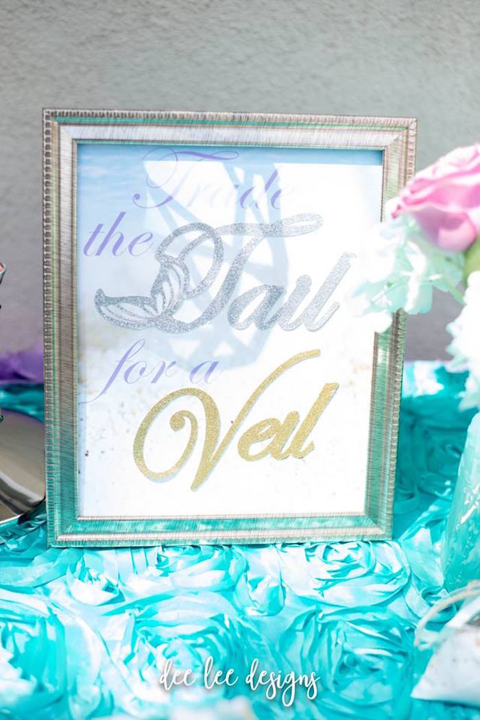Signage from a Mermaid + Under the Sea Bridal Shower on Kara's Party Ideas | KarasPartyIdeas.com (6)