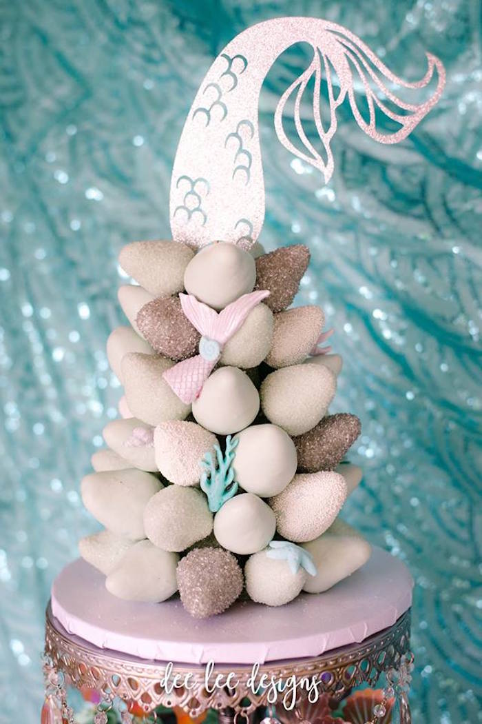 Mermaid Tail Strawberry Tower from a Mermaid + Under the Sea Bridal Shower on Kara's Party Ideas | KarasPartyIdeas.com (5)
