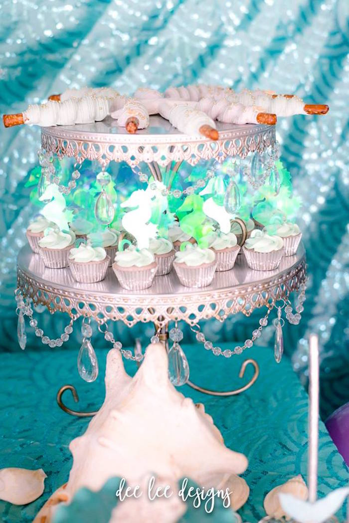 Silver Chandelier Dessert Pedestal from a Mermaid + Under the Sea Bridal Shower on Kara's Party Ideas | KarasPartyIdeas.com (4)