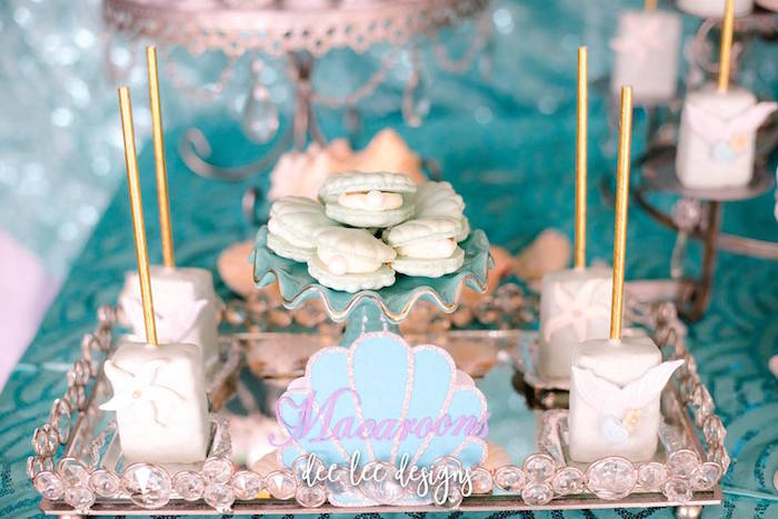 Seashell Oyster Macarons from a Mermaid + Under the Sea Bridal Shower on Kara's Party Ideas | KarasPartyIdeas.com (25)