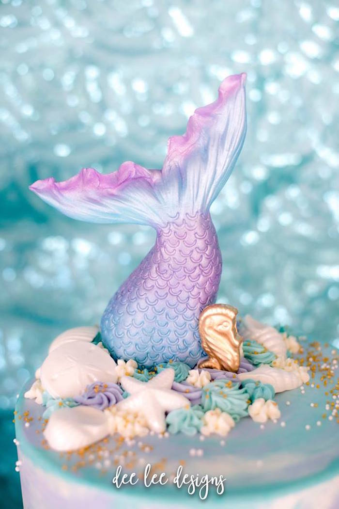 Mermaid Fin Cake Topper from a Mermaid + Under the Sea Bridal Shower on Kara's Party Ideas | KarasPartyIdeas.com (23)