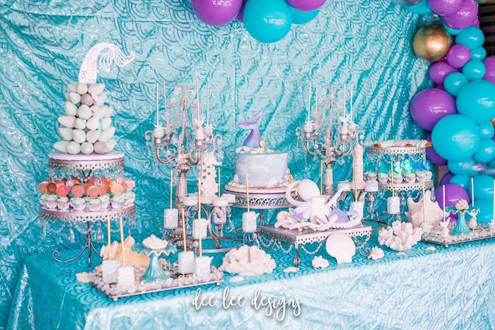 Mermaid-inspired Sweet Table from a Mermaid + Under the Sea Bridal Shower on Kara's Party Ideas | KarasPartyIdeas.com (22)