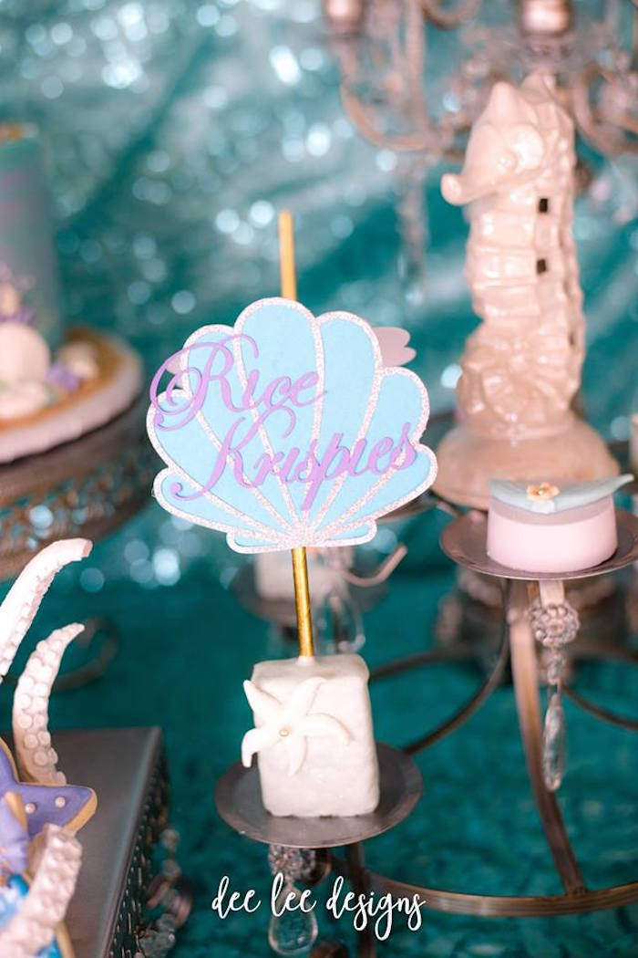 Rice Krispies from a Mermaid + Under the Sea Bridal Shower on Kara's Party Ideas | KarasPartyIdeas.com (21)