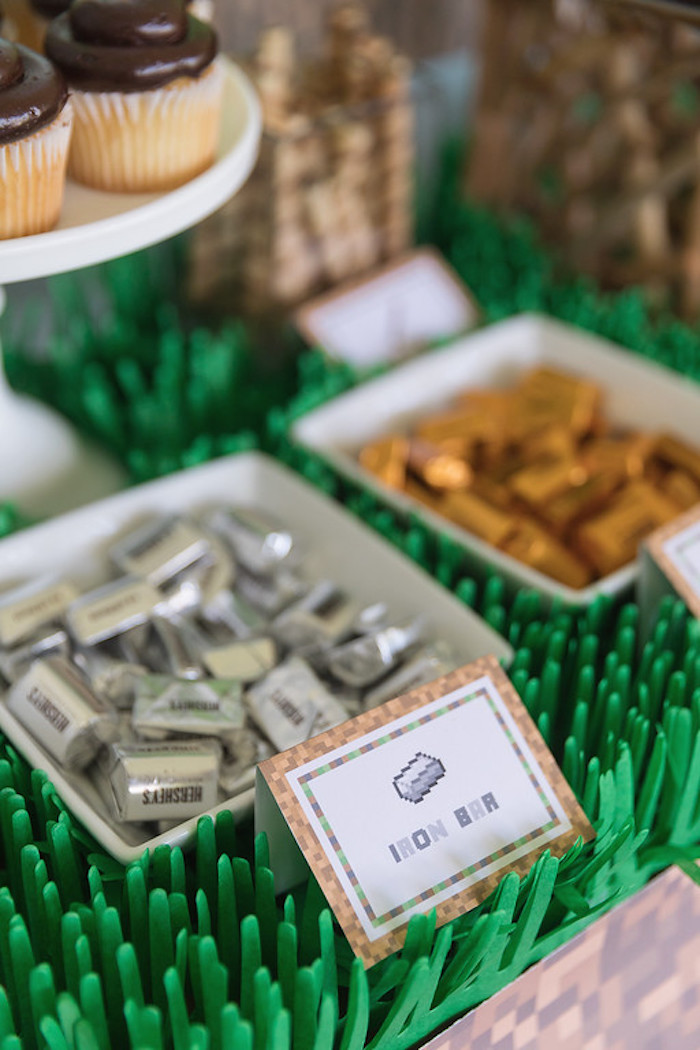Iron Bar Chocolates from a Minecraft Birthday Party on Kara's Party Ideas | KarasPartyIdeas.com (15)