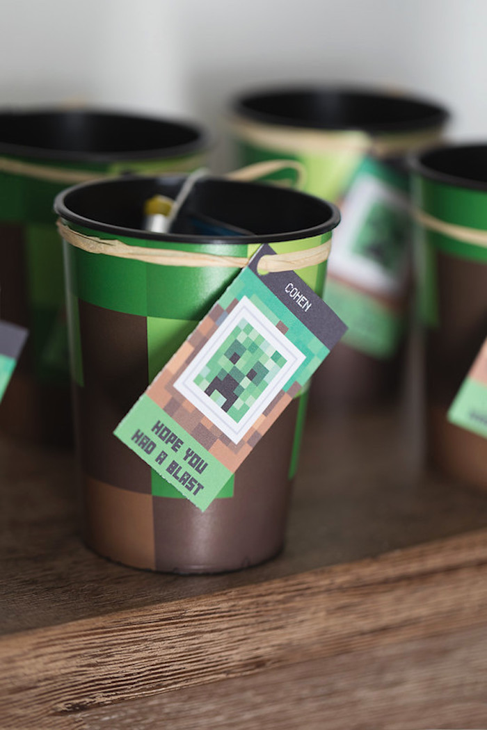 Minecraft Cup Party Favor from a Minecraft Birthday Party on Kara's Party Ideas | KarasPartyIdeas.com (13)