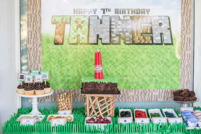 Minecraft Dessert Table from a Minecraft Birthday Party on Kara's Party Ideas | KarasPartyIdeas.com (11)