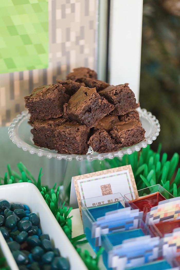 Dirt Block Brownies from a Minecraft Birthday Party on Kara's Party Ideas | KarasPartyIdeas.com (10)