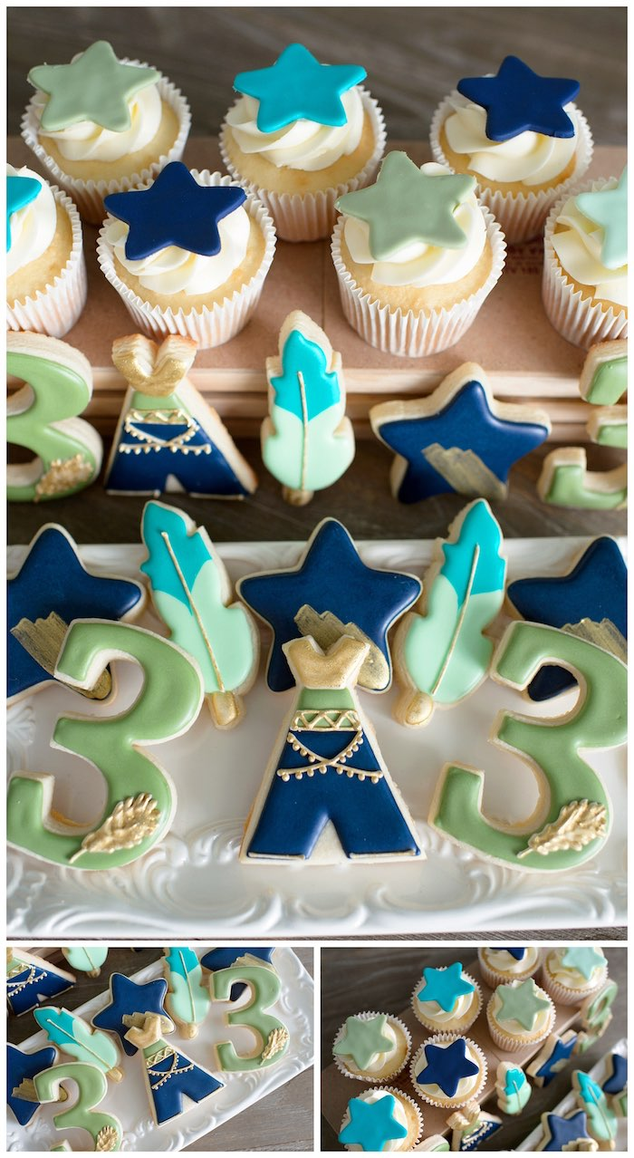 Neverland Cookies + Cupcakes from a Minimal Neverland + Lost Boys Birthday Party on Kara's Party Ideas | KarasPartyIdeas.com (10)