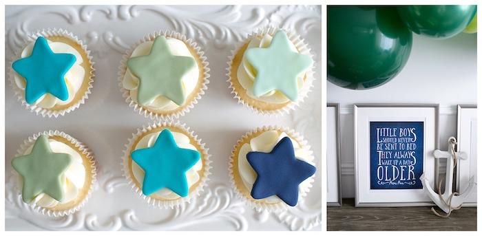 Star Cupcakes from a Minimal Neverland + Lost Boys Birthday Party on Kara's Party Ideas | KarasPartyIdeas.com (9)
