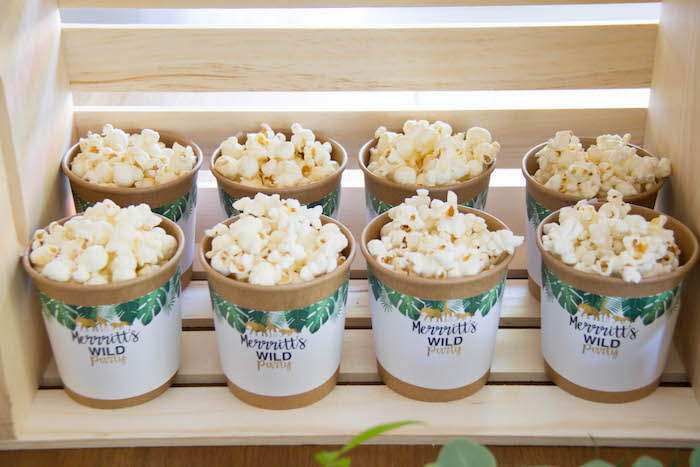 Popcorn Cups from a Minimal Safari Birthday Party on Kara's Party Ideas | KarasPartyIdeas.com (16)