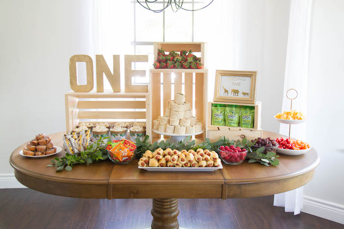 Wood Crated Food Table from a Minimal Safari Birthday Party on Kara's Party Ideas | KarasPartyIdeas.com (15)
