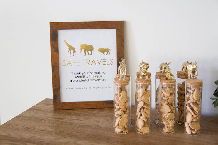 Glam Animal Cracker Favor Tubes from a Minimal Safari Birthday Party on Kara's Party Ideas | KarasPartyIdeas.com (12)