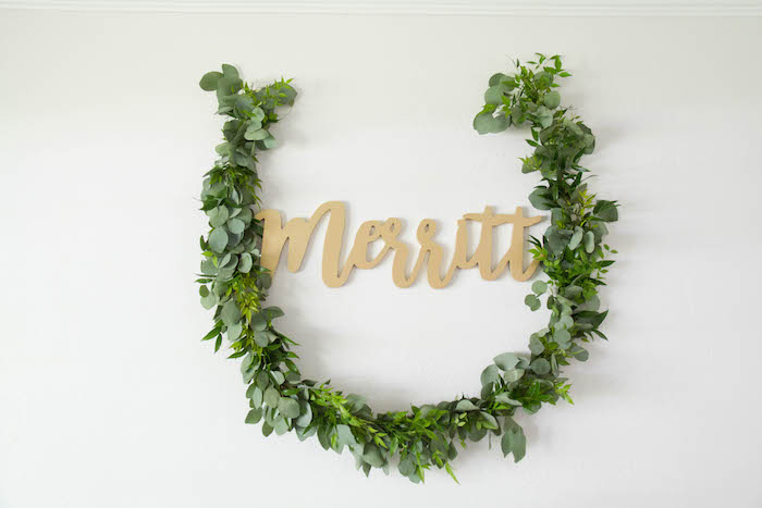 Leaf Horseshoe Garland from a Minimal Safari Birthday Party on Kara's Party Ideas | KarasPartyIdeas.com (9)
