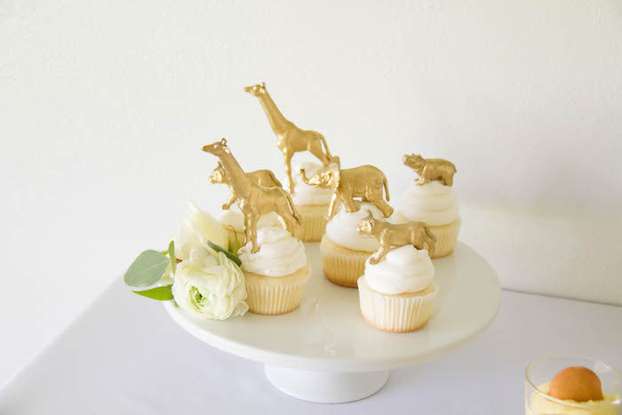 Glam Safari Animal Cupcakes from a Minimal Safari Birthday Party on Kara's Party Ideas | KarasPartyIdeas.com (7)